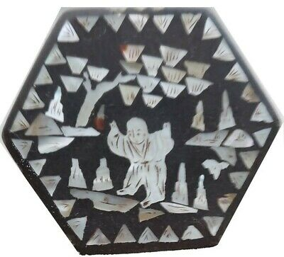 Antique Chinese Inlaid Mother of Pearl Paper Mache Trinket Box Black Chinoiserie