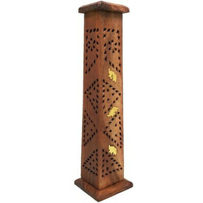 Wooden Elephant Incense Tower Stick Cone Holder Conffin Burner India 30cm/12''