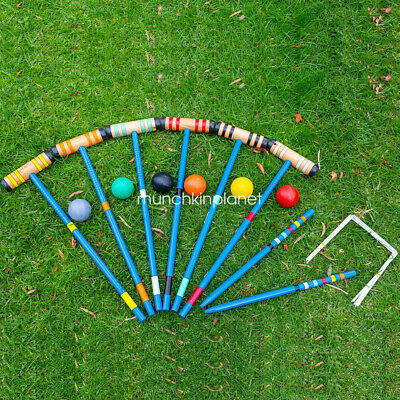 Lown Sports Croquet Wooden Set-Up to 6 Players 6 Mallets Outdoor Backyard Games