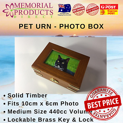 Pet Urn Solid Timber with Photo Box - Small Size