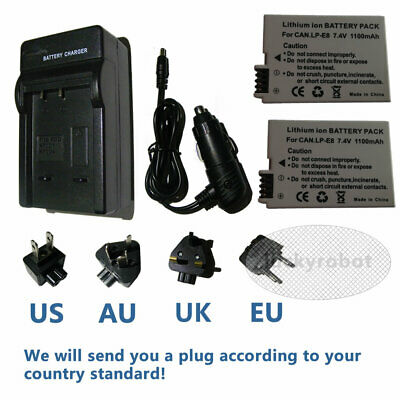 2X Battery +Travel Charger for Canon LP-E8 EOS 700D 650D 550D 600D Rebel T4i T3i