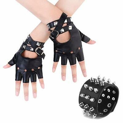 Womens Punk Rock Fingerless Gloves with Black Metal Studded Leather Bracelet