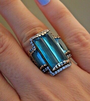 925 Sterling Silver Handmade Authentic Turkish Aquamarine Ring Size 7-9