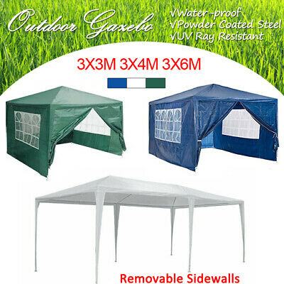 Gazebo Waterproof Garden Outdoor Marquee Party PE Tent 4 Sidewalls 3x3/3x4/3x6m
