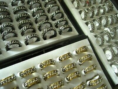 Wholesale 100pcs Silver Gold Black Stainless Steel Spinner Band Jewelry Rings