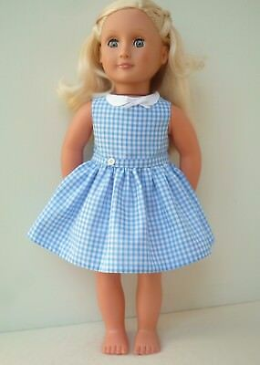 Our Generation  American Girl blue school dress handmade 18 inch doll clothes