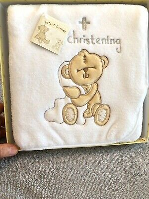 Button Corner Teddy Bear /& Bunny Snow Globe Collectable Baby Christening Gifts