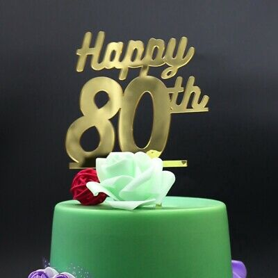 PERSONALISED 80TH GLITTER Birthday Cake topper banner including ROSE