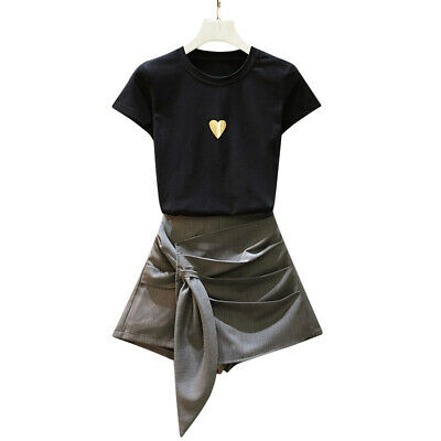 Women's Loose Round Neck Short-sleeved Skirt Two-piece Suit Slim Naughty Sets