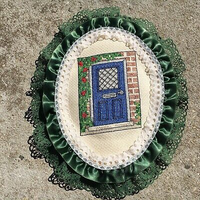 """BLUE DOOR """"Green"""" Small Completed Cross Stitch in Frilly Embroidery Hoop"""