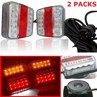 Magnetic LED Trailer Towing Lightboard Lights Rear Tail Board Lamps 7.5 Cable UK