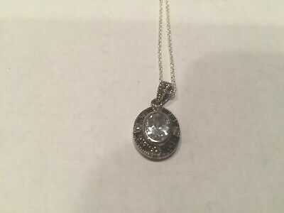 Vintage Silver Necklace with Clear Stone on Black/Silver Pendant  Beautiful!