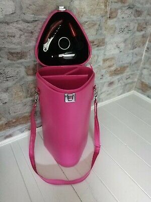 Pink Wine Carrier Picnic Hamper With Stopper, Corkscrew Accessories hardcase