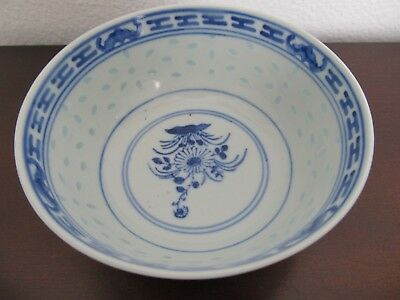 Lovely Chinese Porcelain Bowl -BLUE & WHITE RICE GRAIN DECORATION-QING DYNASTY