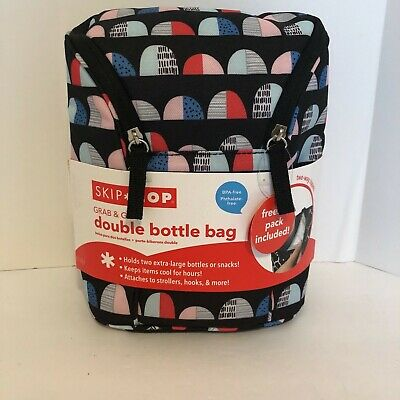 New SKIP HOP Grab & Go Double Bottle Bag Freezer Pack Included Blue Domes Print