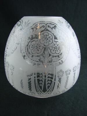 "Pretty Art Nouveau Fully Etched, Fluted Glass Beehive Oil Lamp Shade 4"" Fitter"
