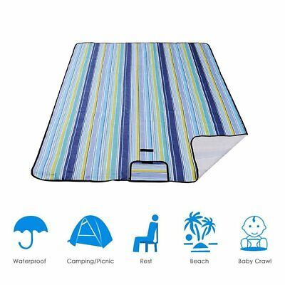 Couverture PiqueNique Camping Plage Impermeable Bleue 200x200 cm Portable Tapis