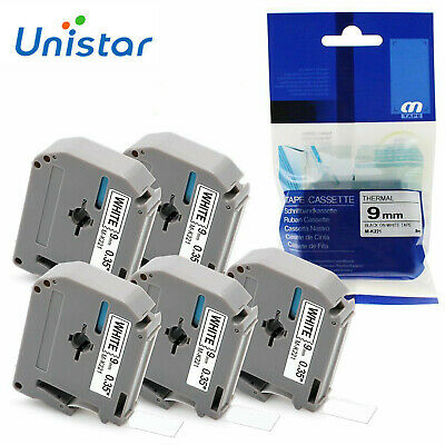 5 Pack Compatible Brother P Touch M-K221 MK221 M Tape Casstte 9mm Black on White