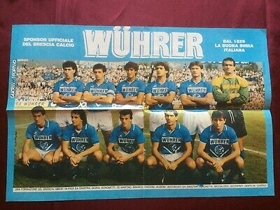 8 Autografi originali BRESCIA CALCIO-86/87 su Poster 41x27cm-RARISSIMO-IN PERSON