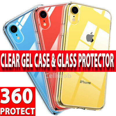360 Case For iPhone XR Ultra Slim Clear Gel Cover & Glass Screen Protector