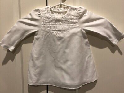Baby Dior Long Sleeve White Cotton Embroidered Top - 6 Months