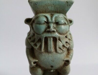 Stunning Egyptian Glazed Faience Bes Statuette Amulet