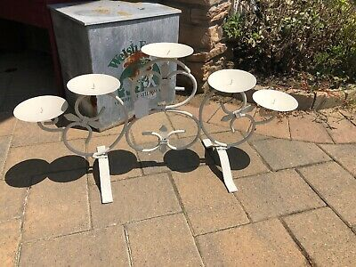 Wrought Iron 5 Pillar Candle Holder Painted White