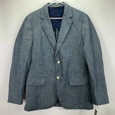 Tasso Elba Mens Chambray Two Button Sport Coat Blazer Blue Gray M