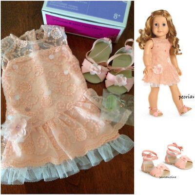 NEW American Girl Doll Peach Orange Shimmer and /& Lace Party Dress Easter Spring