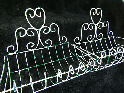 Vintage Pair Ornate Chippy White Wire Basket Planters Wall Mount Vertical Garden