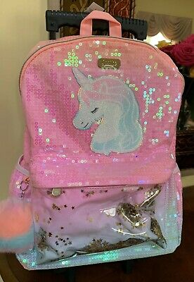 Justice Girls Unicorn Ombre Shaky Rolling Backpack Very Cute !!!