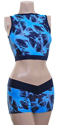 Pole Dancing Pole Fitness Top /&Hot Pants #s Snowcat//Blk Meryl Pole Active Wear