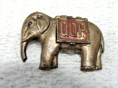 Antique GOP Elephant Political Pin 1900 McKinley Roosevelt
