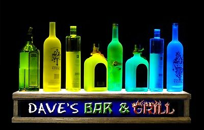 2'Color Led Lighted Liquor Bottle Display Personalized Bar And Grill Bar Sign