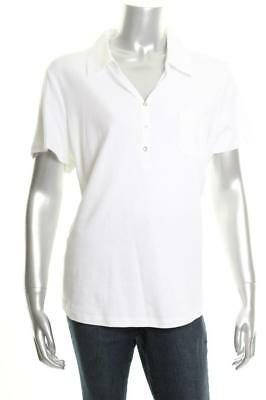 New Women's Karen Scott Cotton Polo Top Bright White XL