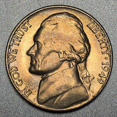 1949 D 5c Jefferson Nickel US Coin Average Circulated