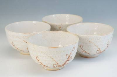 Japan SHINO Ware Pottery Tea Bowl Rice Bowl 4pc Plum Set Free Shipping 378f21