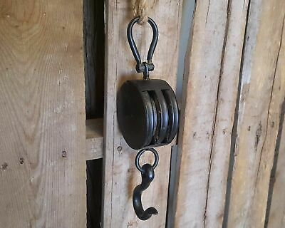 Black Metal Rust Vintage Rustic Industrial Rope Double Pulley Wheel Hook Hoist