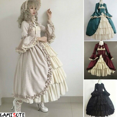 Women Retro Ruffle Vintage Classic Lolita Dress Lace Victorian Cosplay Gowns UK