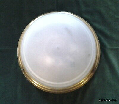 Large Wall or Ceiling Porthole Light with Opaque Glass and Brass Mount