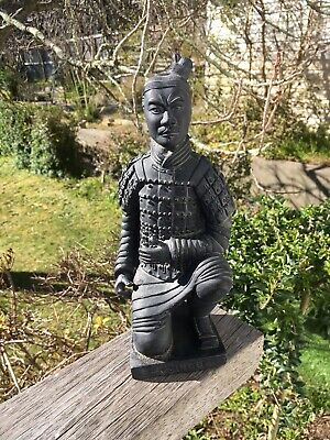 Heavy Pottery Chinese Kneeling terracotta Warrior Figurine Statue 24cm