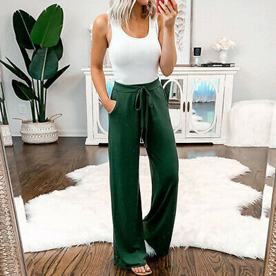 Summer Casual Soild Trousers With Loose Pocket Wide Leg Drawstring Pants