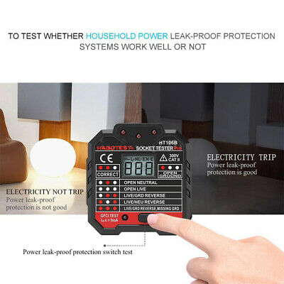 Professional HT106B Advance Electric Socket Tester GFCI Test Mains Fault Checker