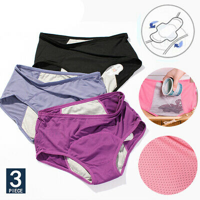 3Pcs Women Menstrual Period Underwear Breathable Physiological Leakproof Briefs