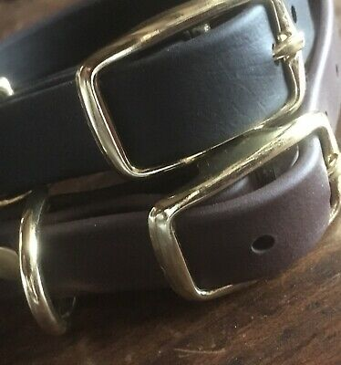 """Heavy BioThane® Leather Substitute 3/4 """" Dog Collar Brass Fittings Brown / Black"""