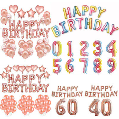 Rainbow Rose Gold 0-9 Number Age Balloon Foil Jumbo Giant Happy Birthday Decor
