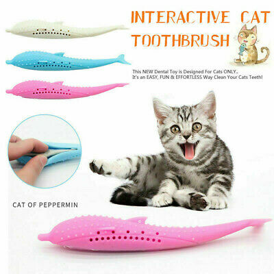 Interactive Cat Toothbrush Dental Toy Silicone Fish Shape Molar Stick Oral Care