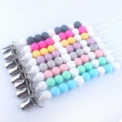 Baby Pacifier Clip Dummy Soothers Holder Chain Teething Silicone Beads Teether