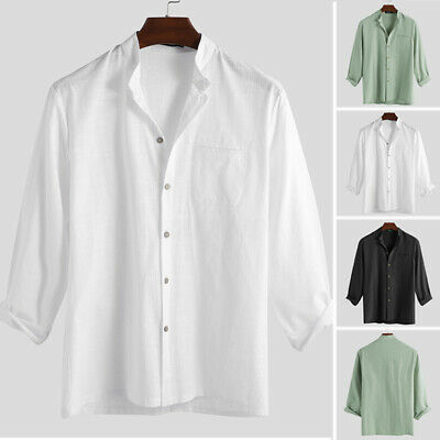 Men's Retro Style Cotton Linen Stand Collar T Shirts Grandad Shirts Tops Blouses