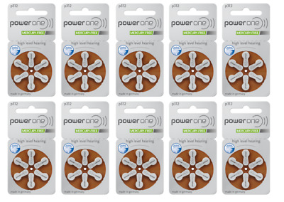 Power one hearing aid batteries (Size 312) - 10 cards (60 cells).